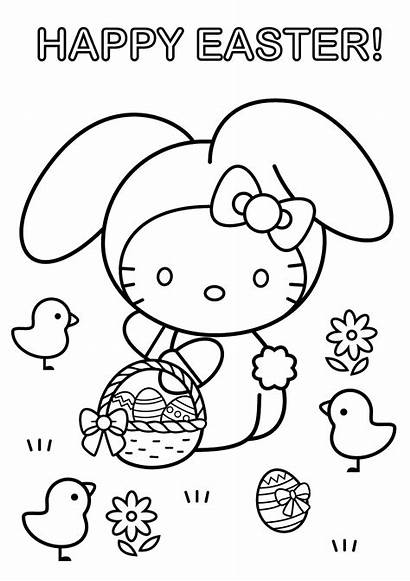 Easter Preschool Coloring Hello Worksheets Pages
