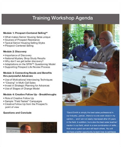 Sample Training Agenda Format