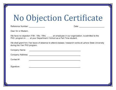 image result   objection certificate format