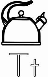 Kettle Coloring Teapot Letter Tea Clip Printable Alphabet Clipart Transparent Worksheets Letters Colouring Illustration Teakettle Vector Education Cookware Learning Guide sketch template