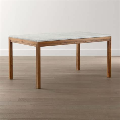 parsons white marble top elm base dining tables crate