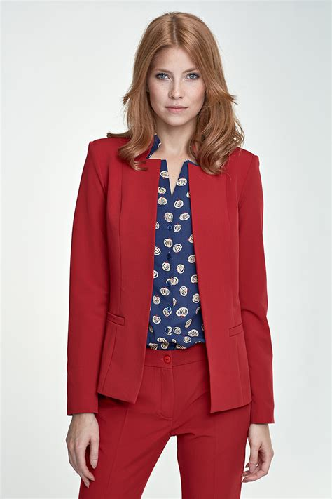 vetement de bureau pour femme veste tailleur pour femme sans boutons bleu marine
