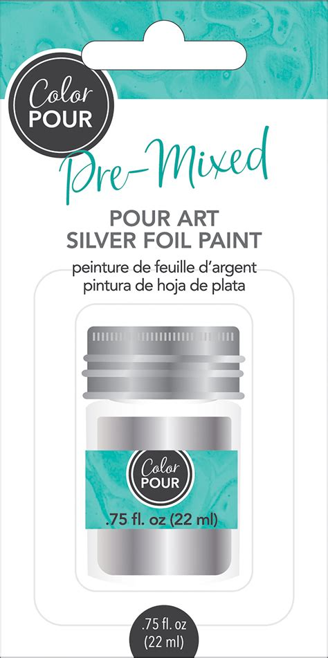 american crafts color pour pre mixed foil paint 75oz silver walmart com