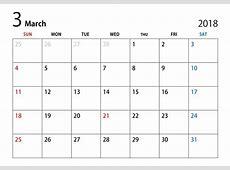 2018年3月カレンダー 2 2019 2018 Calendar Printable with