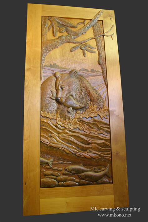hand crafted carved door bear   river  mk carving