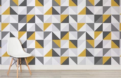 yellow  grey abstract geometric wallpaper wall decor