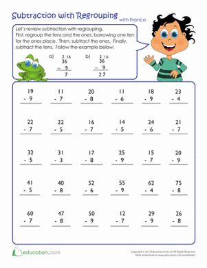 1st grade math worksheet subtraction with regrouping review subtraction with regrouping worksheet education