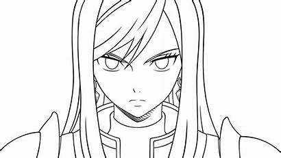 Erza Scarlet Lineart Coloring Deviantart Fairy Tail