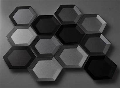 Hexagon Tile Glass Mosaic Crystal Glossy Silver