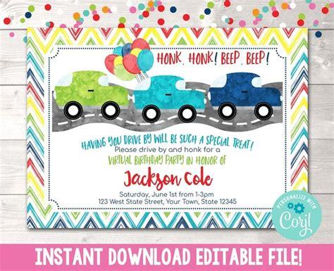 Editable Virtual Drive By Birthday Parade Blue Birthday
