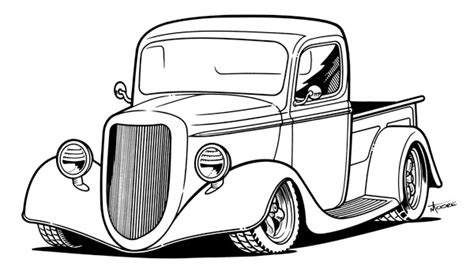 Line Drawing Of Old Cars
