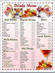 cocktail menu template ms office guru With drink menu templates microsoft word