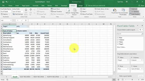 create an excel pivottable based on multiple worksheets youtube