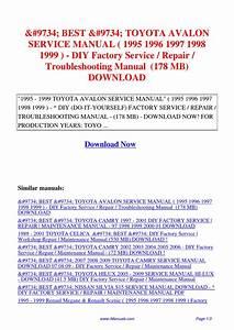 Toyota Avalon Service Manual 1995 1996 1997 1998 1999