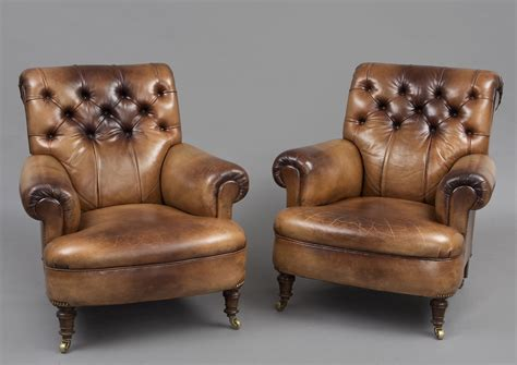 » Product » Antique English Pair Leather Club Chairs