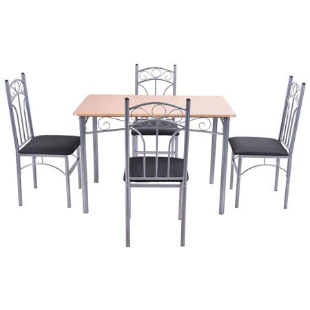 pcs wood  metal dining set table   chairs home