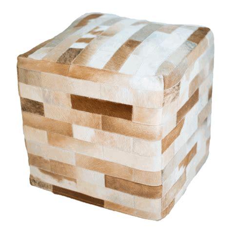 Cowhide Cube Ottoman - cowhide cube ottoman light brown
