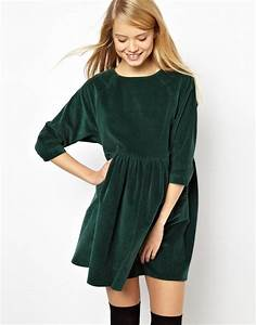 asos robe a smocks en velours cotele vert fashion 2 With robe velours vert