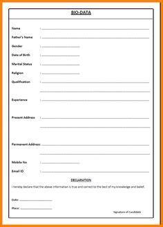 Format Of Biodata Pdf by Free Blank Resume Forms Pdf Education Resume