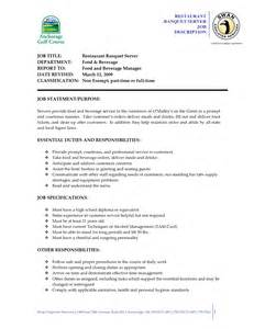 resume description for food server resume for server sle