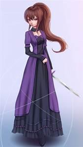 Long, Hair, Brunette, Purple, Eyes, Anime, Anime, Girls, Dress, Sword, Open, Shirt, Hd, Wallpapers