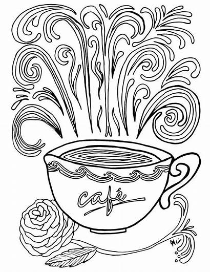 Coloring Coffee Printable Coloriage Complex Adult Theme