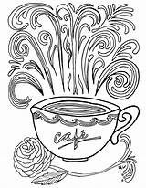 Coloring Coffee Printable Coloriage Complex Adult Theme Nature Books Colouring Sheets Printables Adults Cup Colorier Imprimer Historique Sylvie Popular Colour sketch template