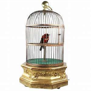 Antique Hexagonal Base Single Singing Bird in Cage by ...