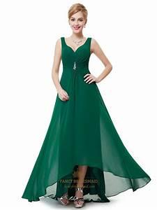 Emerald Green V Neck Chiffon Bridesmaid Dresses With