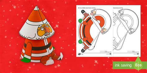 Cone Template Twinkl by Simple 3d Cone Bobble Head Santa Christmas Paper Craft