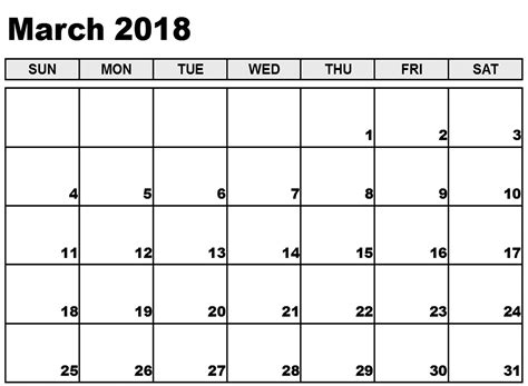 March 2018 Calendar Template Printable Weekly Calendar