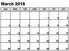 March 2018 Calendar Template yearly printable calendar