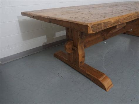 distressed wood dining table distressed solid wood trestle table at 1stdibs 7814