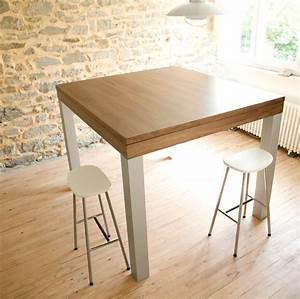 Grande Table Haute Design NoyerAlu Pas Cher