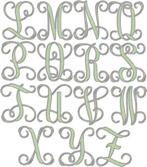 fancy textured vines monogram font bling sass sparkle