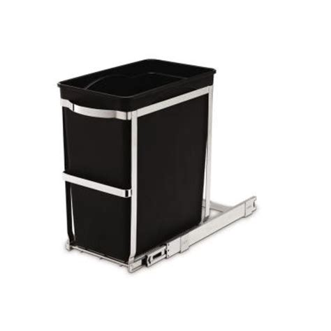 Cabinet Trash Can Home Depot by Simplehuman 6 8 Gallon Black Rectangular Commercial Grade