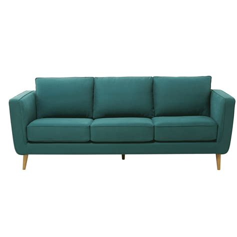 chaise bleu canard 3 4 seater kendo fabric sofa in peacock blue nils
