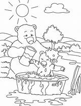 Bear Coloring Pages Hunting Child Baby Bears Bathe Mother Bathing sketch template