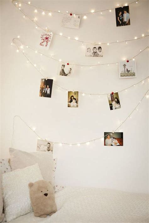diy photo wall string lights