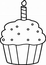 Cupcake Coloring Birthday Sprinkles Happy sketch template