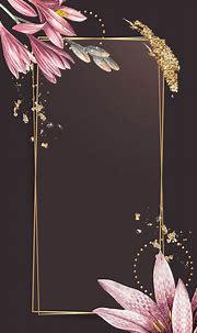Pink amaryllis pattern with gold frame vector | premium ...
