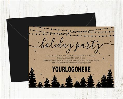 add business logo corporate holiday party invitation etsy