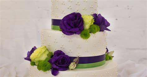 Pretty, Elegant, Lime Green And Purple Wedding Cake. Sugar
