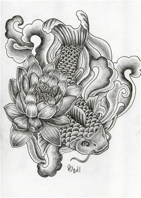 traditional black  white koi fish  lotus flower
