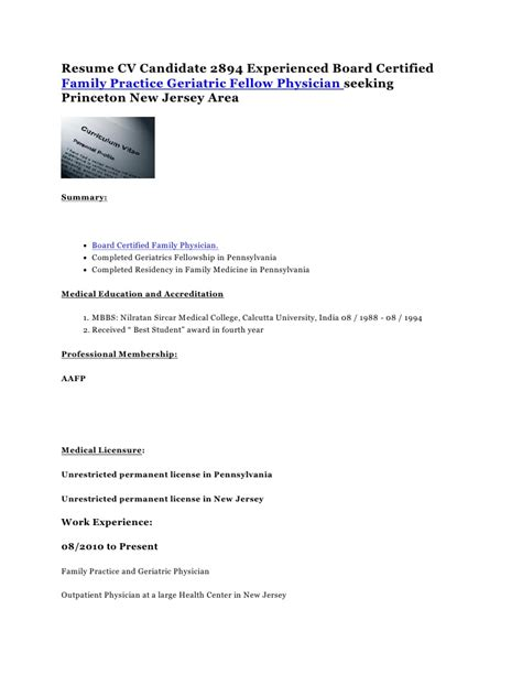 resume cv candidate 2894 experienced board certified