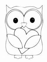 Owl Coloring Owls Printable Pattern Valentine Cartoons Folder sketch template