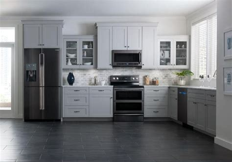 White Cupboards With Stainless Steel Appliances by Black Stainless Appliances White Cabinets Flooring