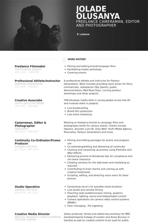 Filmmaking Resume Skills by Resume Sles Visualcv Resume Sles Database