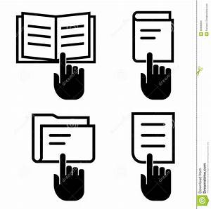 Open Document Icon Set Stock Vector  Illustration Of Click