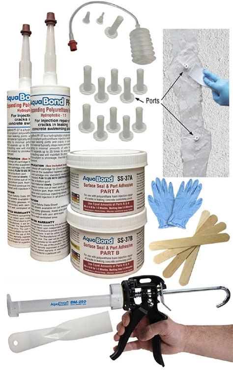 polyurethane foam crack injection kit repair swimming